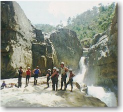 Rappeling in Jarabacoa, Dominican Republic: the Jimenoa River gorges down over 200-foot vertical drops